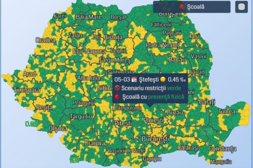 Scenariile în care se redeschid școlile în România, într-o hartă interactivă