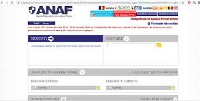 Modernizarea portalului anaf.ro blocheaza serviciile furnizate