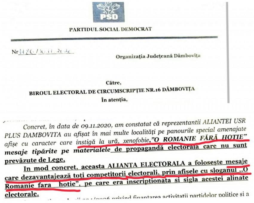"""PSD cere să fie interzis sloganul """"O țară fără hoție"""", al USR-PLUS"""